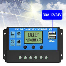 30A Solar Panel Battery Charge Controller 12V/24V LCD Regulator Auto Dual USB