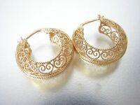 Ohrringe Schione aus Gold 18 KT 750 Tausendstel Arbeiten Filigran Florentiner