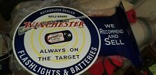 WINCHESTER AUTORIZED DEALER HEAVY METAL SIGN DOUBLE SIDED FLANGE