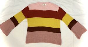 UMGEE Boho Waffle Knit Sweater Bell Sleeve Colorblock Stripe Pink Red Yellow SM