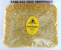 YELLOW BEESWAX BEES WAX by H&B Oils Center ORGANIC PASTILLES BEADS 48 OZ, 3 LB