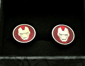 Marvel Comics Subtle Iron Man Face Helmet Cufflinks New Gift Box