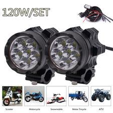 2Pcs Motorcycle LED Headlights 6 Lamp Beads 120W 6500K 7800 LM Aluminum Alloy