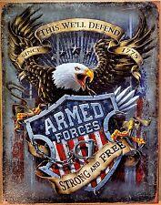 PLAQUE métal déco vintage USA ARMED FORCES eagle aigle - 40 X 30 CM