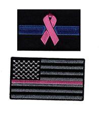 USA Flag Thin Pink Line Breast Cancer Flag Awareness Bundle 2pcs Patch