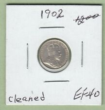 1902 Canadian 5 Cents Silver Coin - EF-40 (Cleaned)