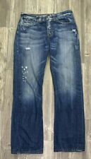 Guess Mens 32 X 33  Boot Cut Jeans Flap Pocket Distressed Denim Button Fly