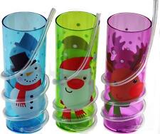 Set Of 3 Plastic Kid's Christmas Drinking Tumbler Cups - With Spiral Bendy Straw