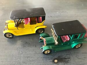 "MATCHBOX Lot de 2 ""models of yesteryear"" ! 1910 Benz / 1907 Peugeot Vintage 70's"