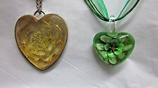 NWT 2 Pendant Necklaces Murano Glass & Acrylic Filigree Heart  on Voile
