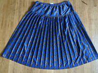 VTG 90s Blue Polyester Paisley Pleated Midi Length Skirt USA MADE Size 16 EUC