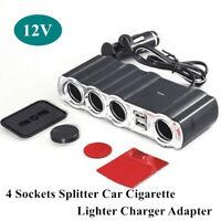 12V 4 Way Car Cigarette Lighter Socket Splitter w/2 USB Port Adapter Charger Kit