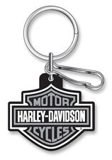 Harley-Davidson Classic Bar & Shield Key Chain with Key Ring & Clip, Gray 4496