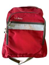 L.L. Bean Red/ Burgandy 3 Pocket Backpack Bag Back Straps