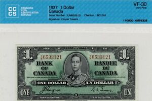 1937 BANK OF CANADA - $1.00 DOLLAR – Banknote – CCCS Very Fine 30
