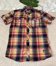 "Goi-Goi Mens Multi Colour Checked Short Sleeve Cotton Shirt Sz L 42"""