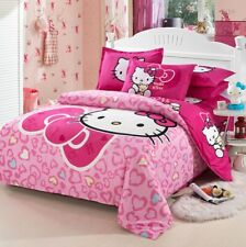 3D Bow Hello Kitty Kids Bedding Set Duvet Cover Bed Sheet twin full queen