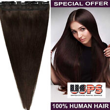 100% Real Soft Clip In Remy Human Hair Extensions US Womens One Piece 5Clip F781