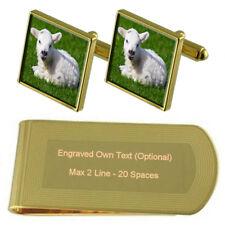 Lamb Gold-Tone Cufflinks Money Clip Engraved Gift Set