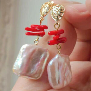Purple Color Baroque Pearl Earring 18k Ear Drop lady gift Party Accessories