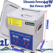 Ultrasonic Cleaner Digital Stainless Ultra Sonic Bath Cleaning Tank Timer Heate 2l