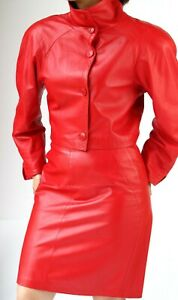 RUTH WAGNER RED LEATHER  SUIT -   JACKET and  SKIRT  fits 8