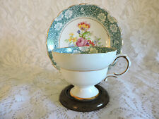 Rosina Footed 4871 Bone China Teacup & Saucer - No Chips - Teal & Floral