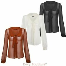 Chiffon Collared Long Sleeve Tops & Blouses for Women