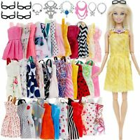 Clothes And Accessories For Barbie Doll Party Dress Outfit Glasses Necklaces Set