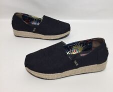 Bobs Skechers Casual Slip On Wedge Shoe Womens Black Canvas Size 9.5