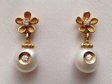 Galatea 14K Yellow Gold Diamond Inside Pearl Florentine Flower Earrings