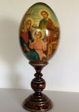 """18.5"""" Large Russian Wooden Easter Hand Crafted Icon -Egg """" The Holy Family"""" Sign"""
