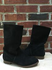 J Crew Slouchy Flat Black Suede Ankle Boots 6.5 Classic RARE!