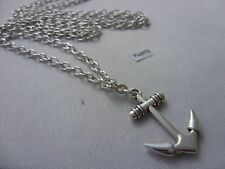 "A Anchor  Tibetan Silver Charm Pendant, Long ( 30"" ) Chain Necklace"