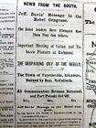 1862 Civil War newspaper with JEFFERSON DAVIS State of the CONFEDERACY Speech