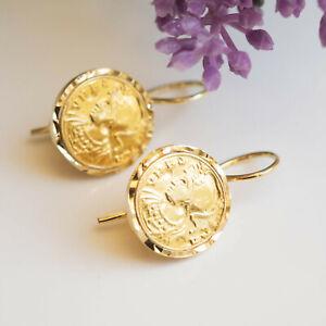 Orecchini monete antiche rifacimento, argento 925 placcato oro giallo Earrings