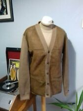 "Vintage Retro Suede fronted St Michael Cardigan L 40"" Chest Mods Scooters Vespa"