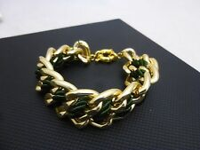 "L by Elle Fashion Jewelry 9"" Brass Chain w/ Woven Green Cord Toggle Bracelet"