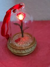 Disney Store Beauty and the Beast Enchanted Rose Ornament Light-Up Christmas