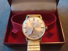 MAN'S ROTARY MANUAL WIND DATE WRIST WATCH SWISS SERIAL No 135070 BOXED REF 9610