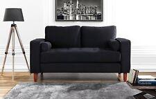 Classic Loveseat Couch in Velvet Upholstery, Tufted Living Room Sofa, Black