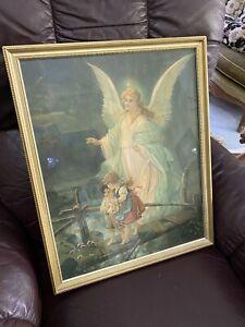 Circa 1930's Guardian Angel With Children On Bridge Religious Framed Art Print