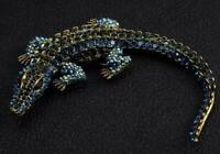 "Fashion Huge 4.4"" Cyan Alligator Brooch Pin Rhinestone Crystal Crocodile Pendant"