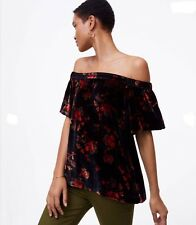 LOFT Women Size XL Blouse Navy Fall Floral Velvet Off Shoulder Flowy Top NEW