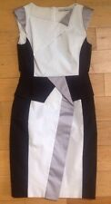 Karen Millen black, white and Silver Streak body con dress size 10