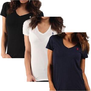 Ralph Lauren Damen T Shirt Slim Fit V-Neck -Farbwahl (S-XL)