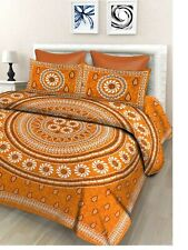 Indian Floral 100% Cotton Double Bedsheet with 2 Pillow Covers, Golden Yellow