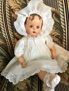 "VTG 1946 Ideal 24"" Baby Beautiful Miracle 34th St. Doll Rare Orig Dress Bonnet"