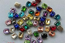 50pcs Sew On 8x10mm rectangle rhinestone cut crystal bead point back glass bead