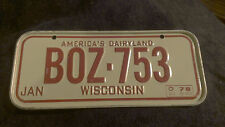 Vintage 1978 Cereal Mini Bicycle License Plate Wisconsin EUC